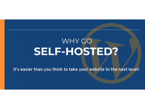 Banner with blue backgound and Wordpress icon text asking why go self-hosted?